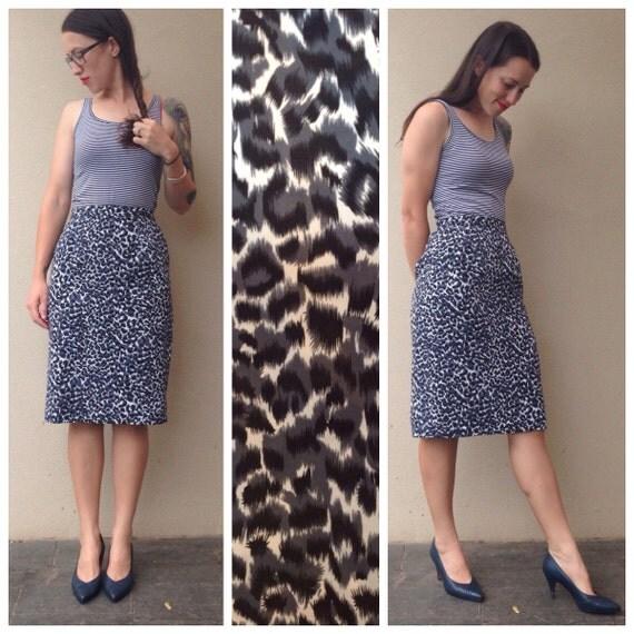 vintage grey leopard print pencil skirt high waisted
