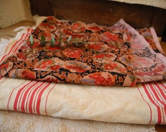 Vintage french textiles fabrics for sewing &  mattress ticking