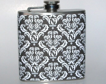 Black and White Damask  6 or 8 oz Size Stainless Steel Liquor Hip Flask Flasks Weddings Bridesmaids Gift Idea