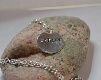 Watson BBC Sherlock stamped pendant necklace