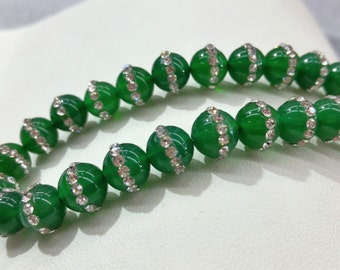 """Green Beads with Cz Round  10mm 15.5""""L"""