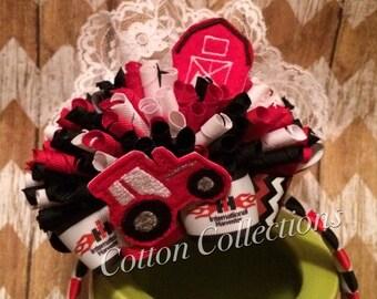 International Harvestor funky loopy bow on woven headband