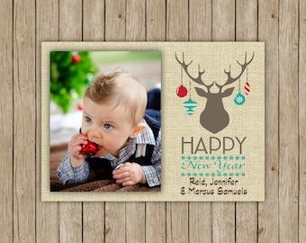 Christmas burlap photo card 5x7 - choose digital file OR printed cards!