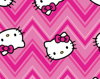 Hello Kitty Fabric Chevron Toss Fabric FLANNEL From Springs Creative