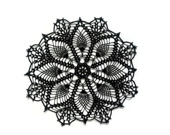 "Diadema Black lace doily, crochet centerpiece, dreamcatcher doily, lace table topper, Gothic decor, Halloween party decor, 10"" or 12 inches"