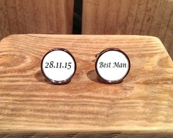 Wedding Cufflinks Best Man - personalise with own wording