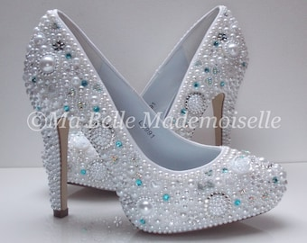 Cinderella Pearl & Crystal Blue Wedding, Bridal, Shoe's, Pumps