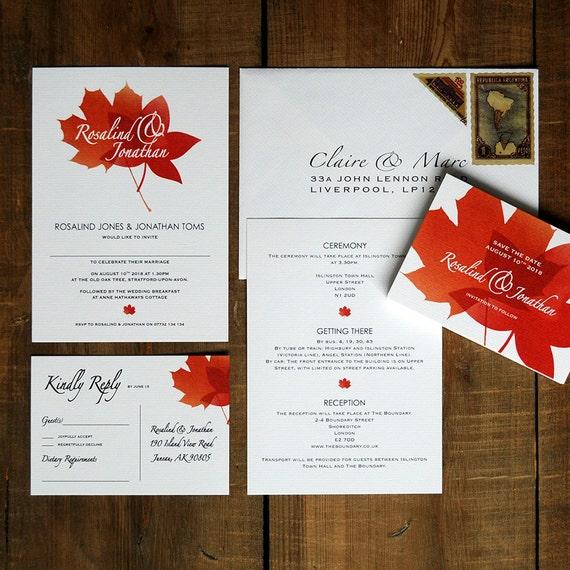 Fall Wedding Invitations: Autumn Leaves Fall Wedding Invitation Set On Luxury Card