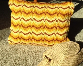 Butterscotch Bargello Needlepoint Pillow