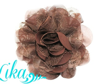 Brown Lace Flower - Chiffon Flower - Lace rose - Shredded Lace Flower - Brown Rose - Wholesale - Supply - 3.75 inch - Brown Flower