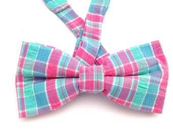 Gingham bow tie, blue and pink ties, multicolor bow tie, gingham bow ties, pink bow tie, blue gingham bow tie, Father's Day gift