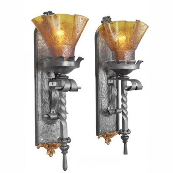 Gothic Wall Sconces: Pair Of Tall Gothic Or Medieval Iron Torch Sconces By