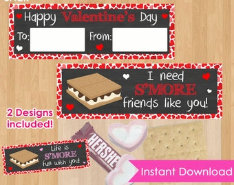 S'Mores Valentine Bag Toppers INSTANT DOWNLOAD, SMores Bag Toppers, Valentine Printable,  Kids Valentine's Day Party Class School Favors