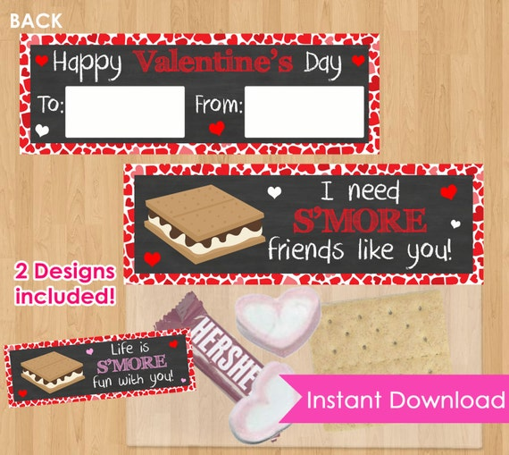 Su0027Mores Valentine Bag Toppers INSTANT DOWNLOAD, SMores Bag Toppers,  Valentine Printable, Kids Valentineu0027s Day Party Class School Favors