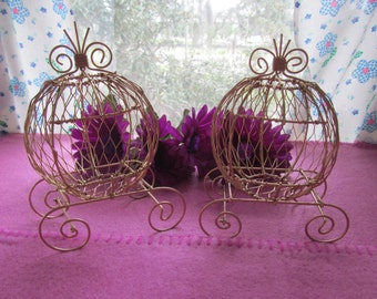 Gold Mini Cinderella Carriages (Set of 2) for Weddings or Baby Shower Decorations