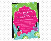 Spa Birthday Party Invitation - Spa Party and Sleepover Invitation - Pampering Party - Printable
