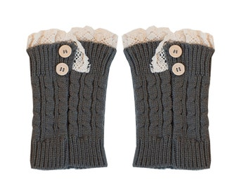 Women Knit Lace Short Button Leg Warmers, Boot Socks, Leg Sweaters, Cable Knit Socks-Gray