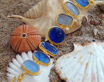 Handmade Genuine Venetian Glass Intaglio Bracelet 18k Yellow Gold Vermeil Sterling Silver