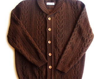 Men's lambswool Shawl neck cardigan with handmade oak buttons/sweater cardigan/jumper/gray/black