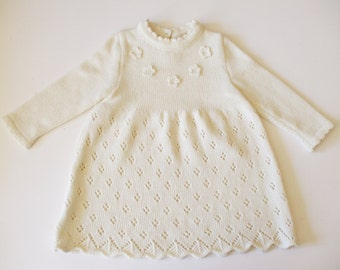 Babygirls/Girls knitted Merino wool lace Dress/outfit/christening/birthday