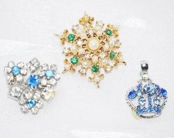 Vintage Rhinestone Pins and A Pendant Destash