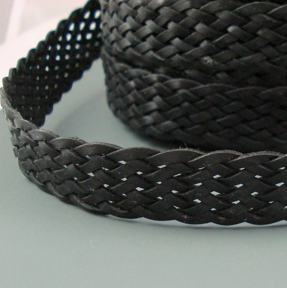Flat leather braided cord 16mm wide flat braided by leathershop3