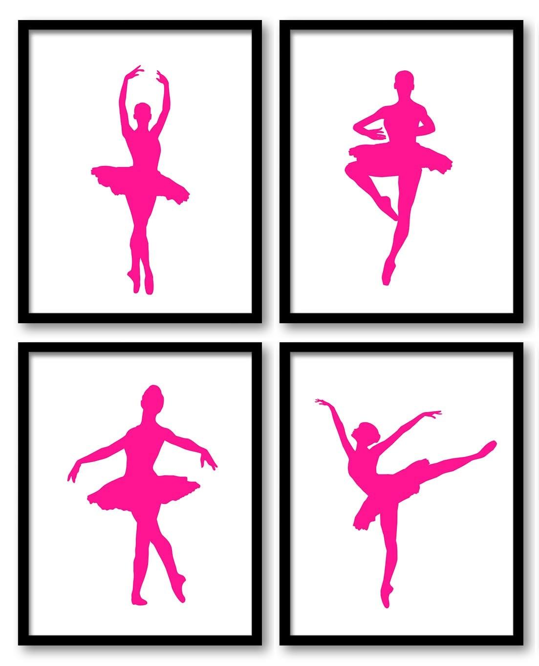 Hot Pink White Ballerina Art Child Baby Art Prints Set of 4 Ballet Girl Kids Room Wall Art Decor Art