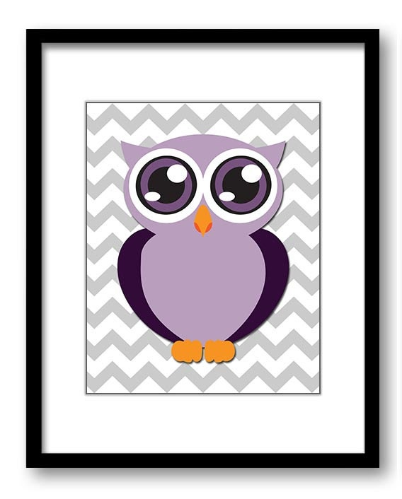 Owl Nursery Art Nursery Print Baby Art Grey Chevron Baby Animal Owl Eggplant Purple Print Kids Wall