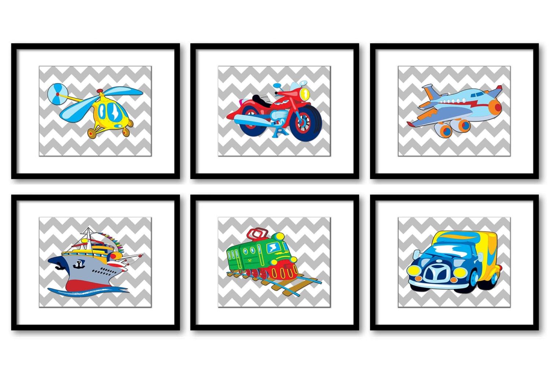 Transportation Vehicles Nursery Print Child Grey Baby Boy Art Prints Set of 6 Helicopter Motorcycle