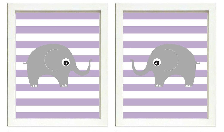 Elephant Nursery Art Nursery Print Set of 2 Elephants Purple Stripes Grey Child Art Prints Kids Room