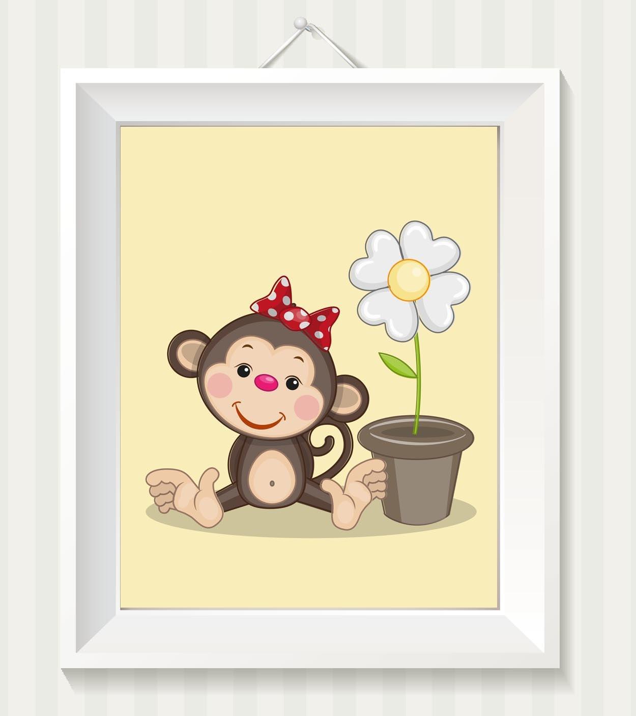 Girl Monkey Nursery Art Monkey Nursery Print Baby Art Baby Animal Brown Beige Yellow Daisy Flower Pr