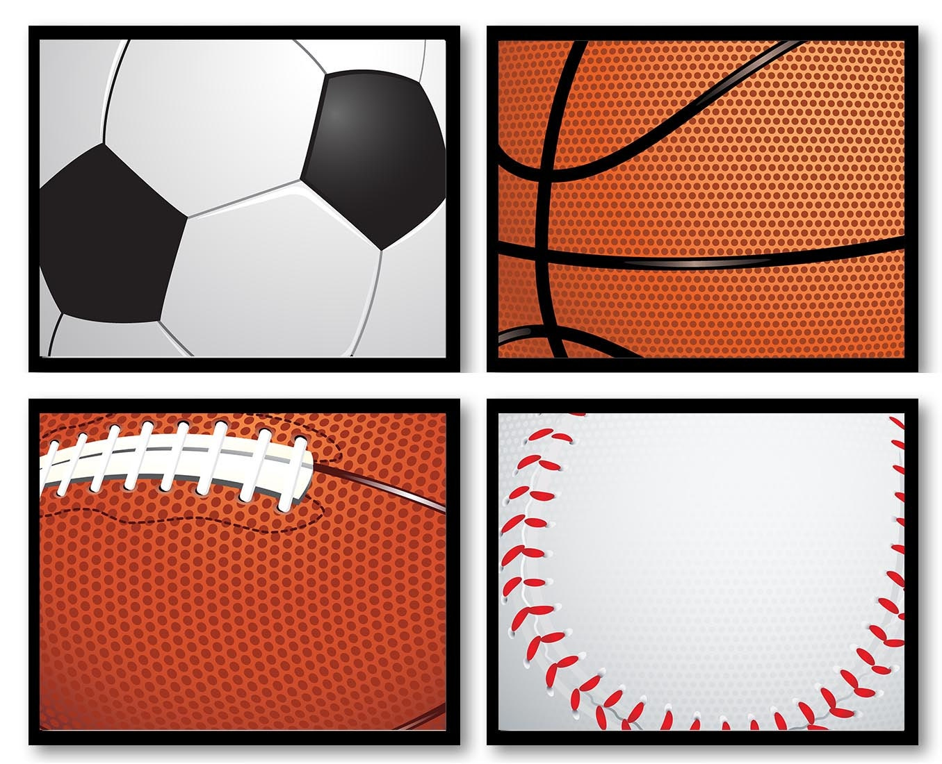 Sports Equipment Nursery Art Kid Children Ball Art Set of 4 Prints Boy Soccer Baseball Football Bask