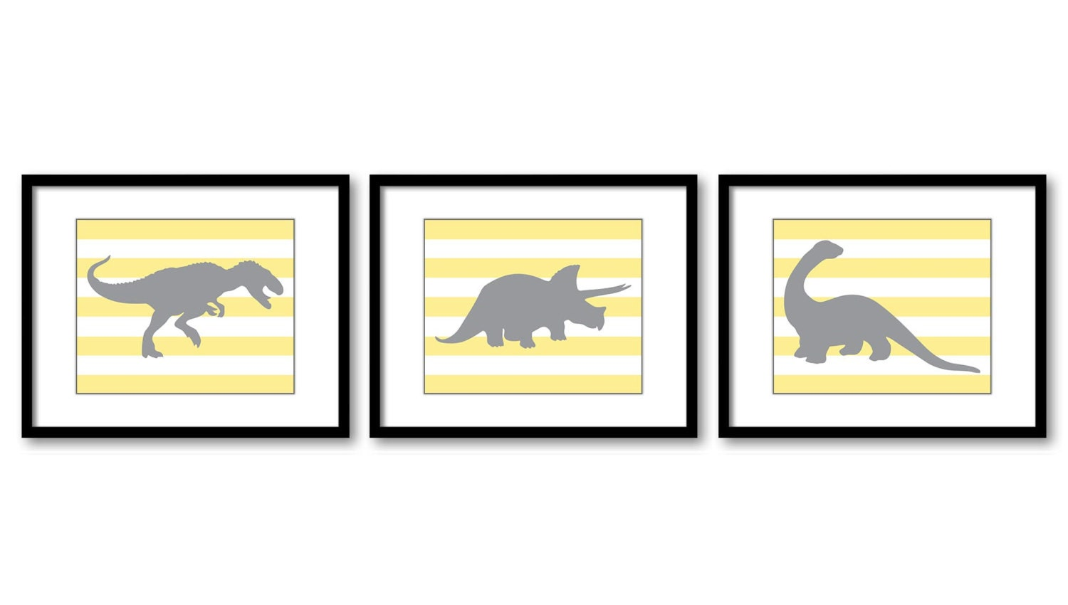 Dinosaur Nursery Art Dinosaurs Prints Set of 3 Prints Yellow Grey Stripes Tyrannosaurus Rex Tricerat