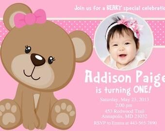 Pink Teddy Bear Birthday Party Invitation - Digital File