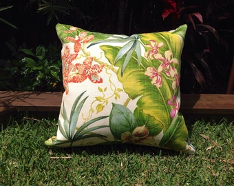 Outdoor Cushions, Tropical Outdoor Pillows Palm Leaves Islander Green, Fuchsia Pillows Alfresco Cushions Tropical Pillows