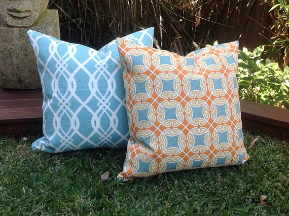 Turquoise Blue Outdoor Cushions Orange and Blue Modern