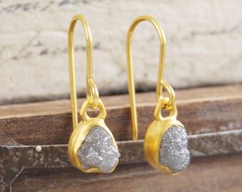 Rough Diamond Earrings, Diamond Gold Drop Earrings, Gold Dangly Earrings, Diamond Earrings, Gifts for Her, Embers Jewellery, Bridal Jewelry