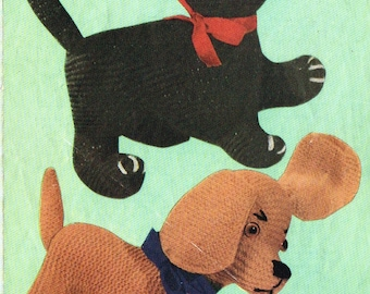 Knitted Dog and Cat knitting pattern. Vintage  copy. PDF Instant download.