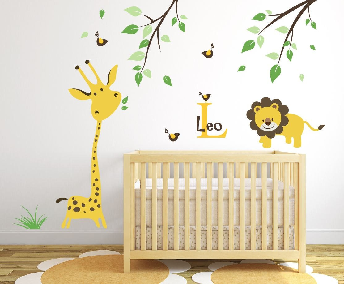 giraffe wall decal jungle safari wall decal baby nursery ideas. Black Bedroom Furniture Sets. Home Design Ideas