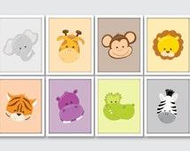 Jungle Animals Nursery Art Prints, Safari Animals Nursery Print, Jungle Room Decor, Safari Room Decor, Jungle Bedroom Decor, Wild Animals