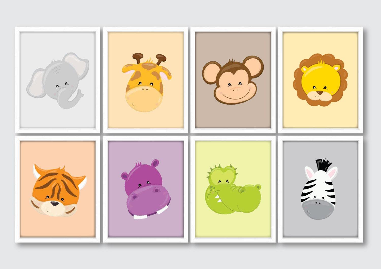 Jungle Animals Nursery Art Jungle Nursery Set Kids Safari