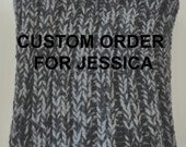 Custom order for Jessica - Hand knitted Black and Grey Scarf - Infinity Scarf