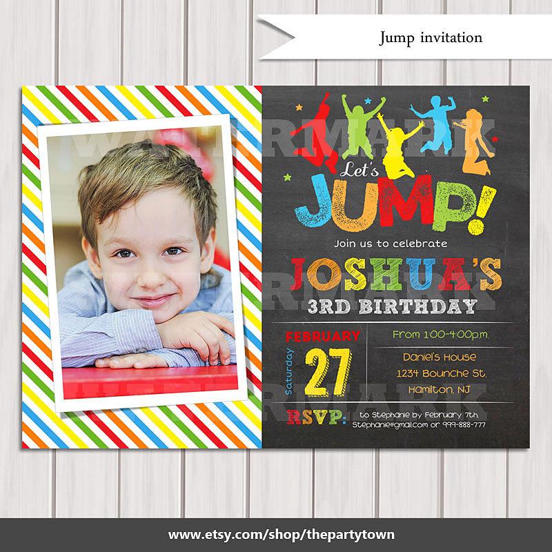Jump Invitation Bounce House Invitation Trampoline Party