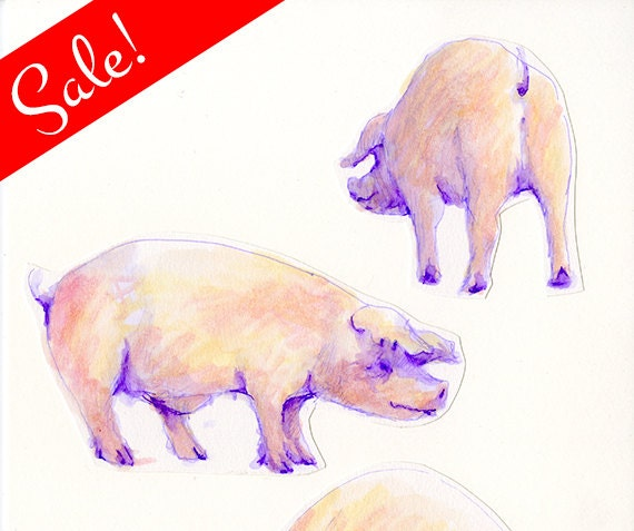 SALE: Three Pigs, Watercolor Collage