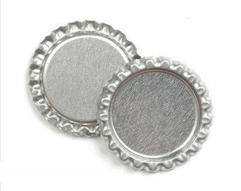 100 Flattened Flat 1 inch Chrome Linerless Silver Bottle Caps