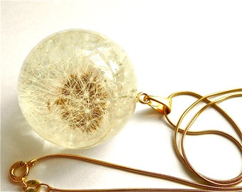 Dandelion pendant, Dandelion in Clear Resin Round with Gold Chain, handmade necklace, jewelry