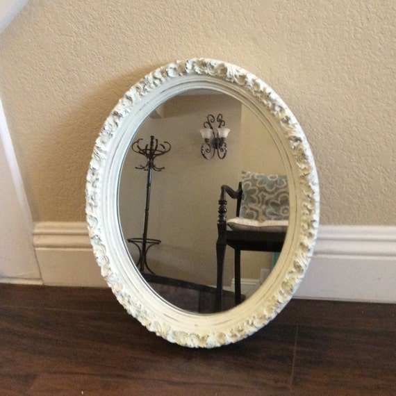 Pretty Oval Mirror White Mirror Ornate Framed Mirror Nursery