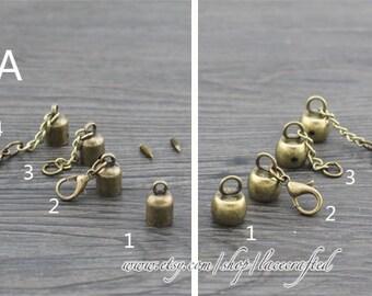 "4 pcs Inner diameter 0.8cm/0.31"" 0.9cm/0.35"" bronze metal bell cord end cord end hook rope end hook end stopper"