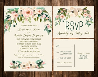 Spring Bohemian Wedding Invitation Set: Light Pink, Romantic