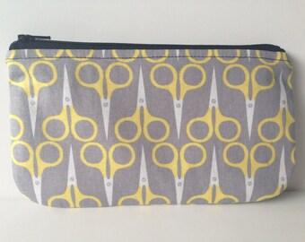 Scissor Print Zippered Coin Purse Pencil Pouch Bag